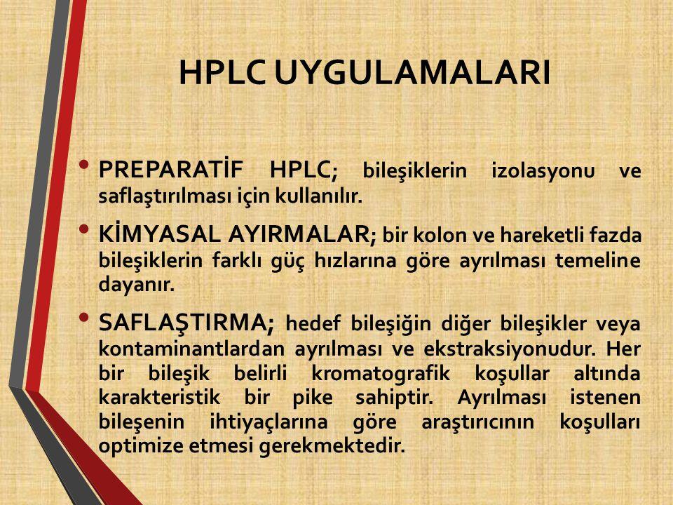 HPLC UYGULAMALARI PREPARATİF HPLC ; bileşiklerin izolasyonu ve saflaştırılması için kullanılır. KİMYASAL AYIRMALAR ; bir kolon ve hareketli fazda bile