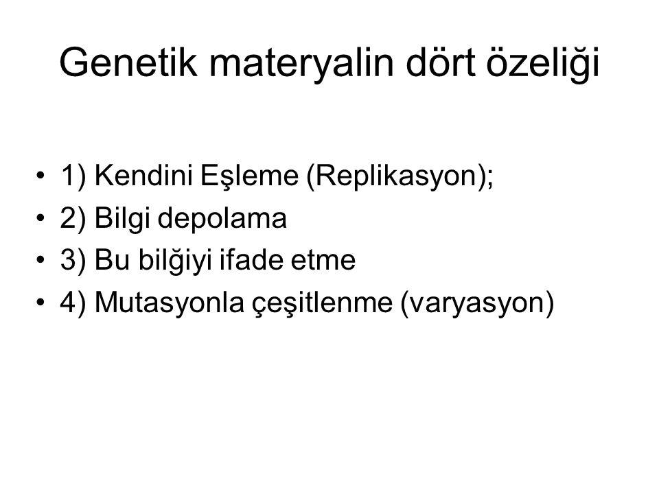 Genetik materyalin dört özeliği 1) Kendini Eşleme (Replikasyon); 2) Bilgi depolama 3) Bu bilğiyi ifade etme 4) Mutasyonla çeşitlenme (varyasyon)