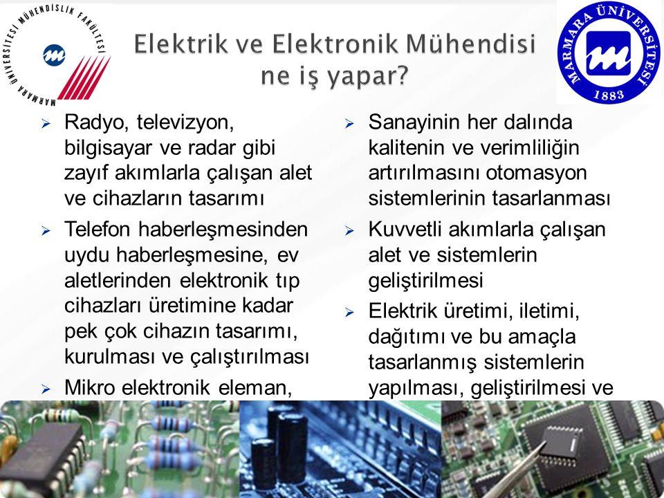 Radyo, televizyon, bilgisayar ve radar gibi zayıf akımlarla çalışan alet ve cihazların tasarımı  Telefon haberleşmesinden uydu haberleşmesine, ev aletlerinden elektronik tıp cihazları üretimine kadar pek çok cihazın tasarımı, kurulması ve çalıştırılması  Mikro elektronik eleman, elektronik devre düzen ve sistemlerinin tasarlanması ve geliştirilmesi  Sanayinin her dalında kalitenin ve verimliliğin artırılmasını otomasyon sistemlerinin tasarlanması  Kuvvetli akımlarla çalışan alet ve sistemlerin geliştirilmesi  Elektrik üretimi, iletimi, dağıtımı ve bu amaçla tasarlanmış sistemlerin yapılması, geliştirilmesi ve kullanılması  Elektronik sistem ve cihazlarla ilgili araştırma - geliştirme faaliyetlerinin yapılması