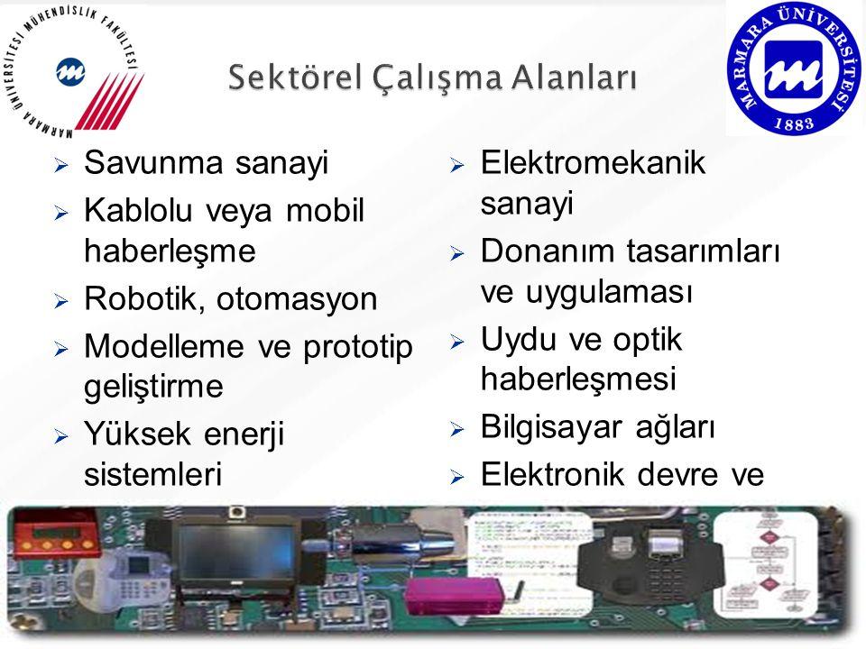  Savunma sanayi  Kablolu veya mobil haberleşme  Robotik, otomasyon  Modelleme ve prototip geliştirme  Yüksek enerji sistemleri  Elektromekanik sanayi  Donanım tasarımları ve uygulaması  Uydu ve optik haberleşmesi  Bilgisayar ağları  Elektronik devre ve sistem tasarımı