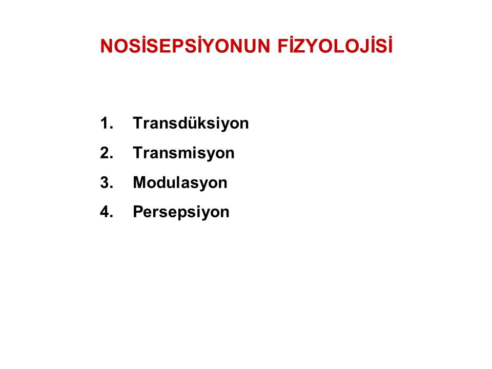 NOSİSEPSİYONUN FİZYOLOJİSİ 1.Transdüksiyon 2.Transmisyon 3.Modulasyon 4.Persepsiyon