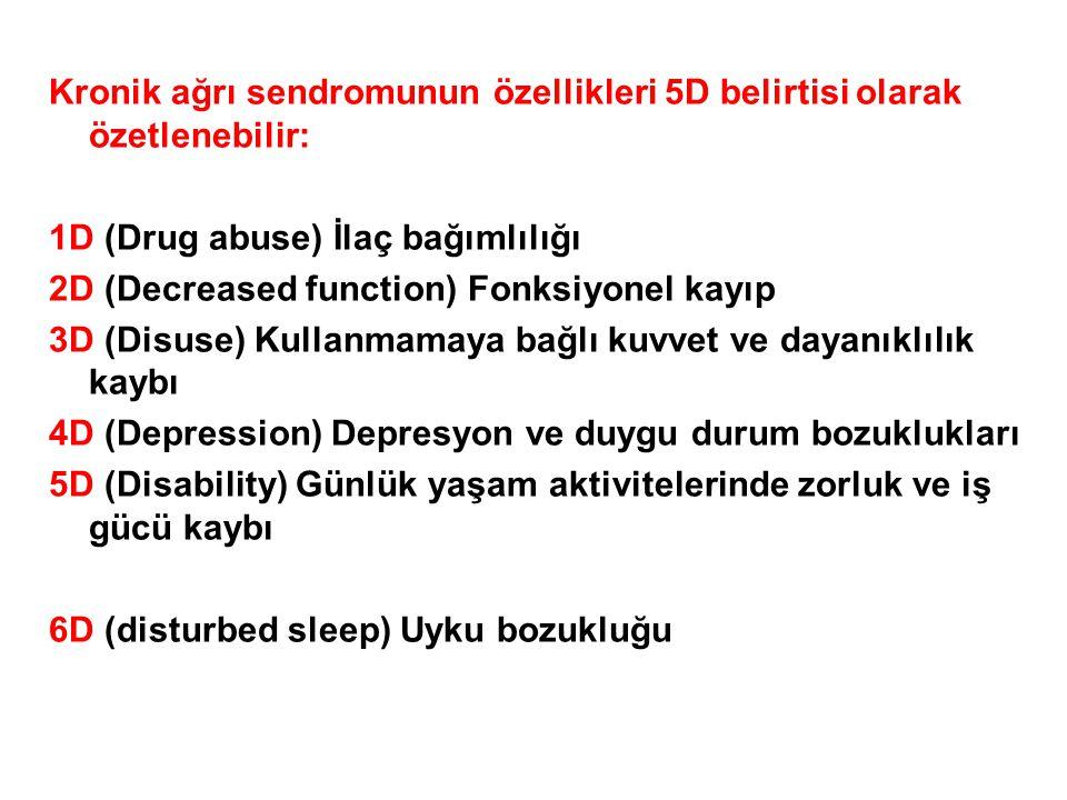 Kronik ağrı sendromunun özellikleri 5D belirtisi olarak özetlenebilir: 1D (Drug abuse) İlaç bağımlılığı 2D (Decreased function) Fonksiyonel kayıp 3D (