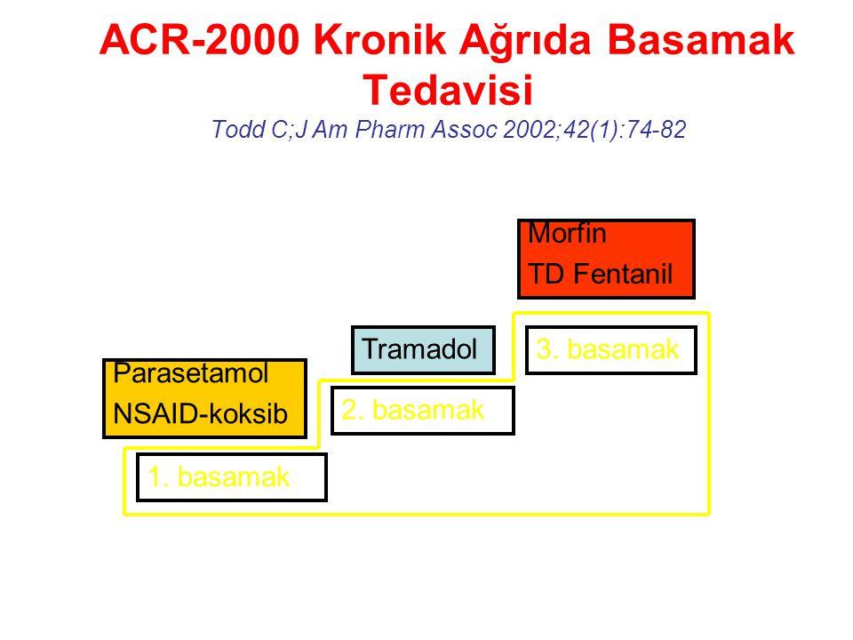 ACR-2000 Kronik Ağrıda Basamak Tedavisi Todd C;J Am Pharm Assoc 2002;42(1):74-82 1. basamak 2. basamak 3. basamak Parasetamol NSAID-koksib Tramadol Mo