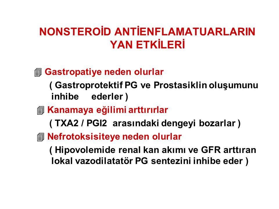 NONSTEROİD ANTİENFLAMATUARLARIN YAN ETKİLERİ  Gastropatiye neden olurlar ( Gastroprotektif PG ve Prostasiklin oluşumunu inhibe ederler )  Kanamaya e