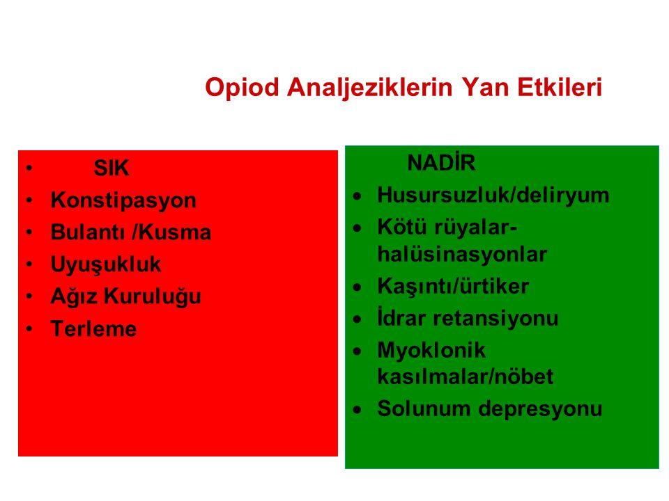 Opiod Analjeziklerin Yan Etkileri SIK Konstipasyon Bulantı /Kusma Uyuşukluk Ağız Kuruluğu Terleme NADİR  Husursuzluk/deliryum  Kötü rüyalar- halüsin