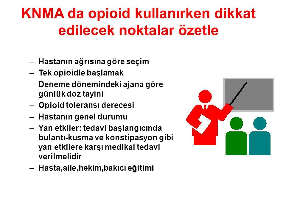 KNMA da opioid kullanırken dikkat edilecek noktalar özetle –Hastanın ağrısına göre seçim –Tek opioidle başlamak –Deneme dönemindeki ajana göre günlük
