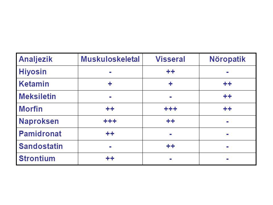 --++Strontium -++-Sandostatin --++Pamidronat -+++++Naproksen +++++++Morfin ++--Meksiletin ++++Ketamin -++-Hiyosin NöropatikVisseralMuskuloskeletalAnal