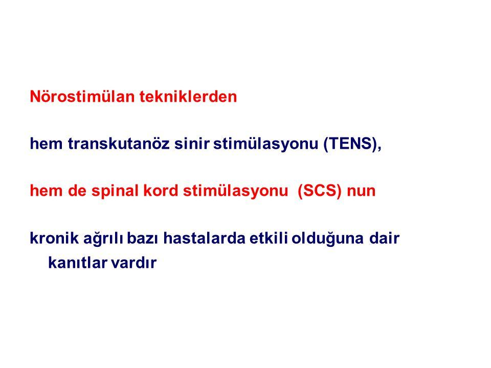 Nörostimülan tekniklerden hem transkutanöz sinir stimülasyonu (TENS), hem de spinal kord stimülasyonu (SCS) nun kronik ağrılı bazı hastalarda etkili o