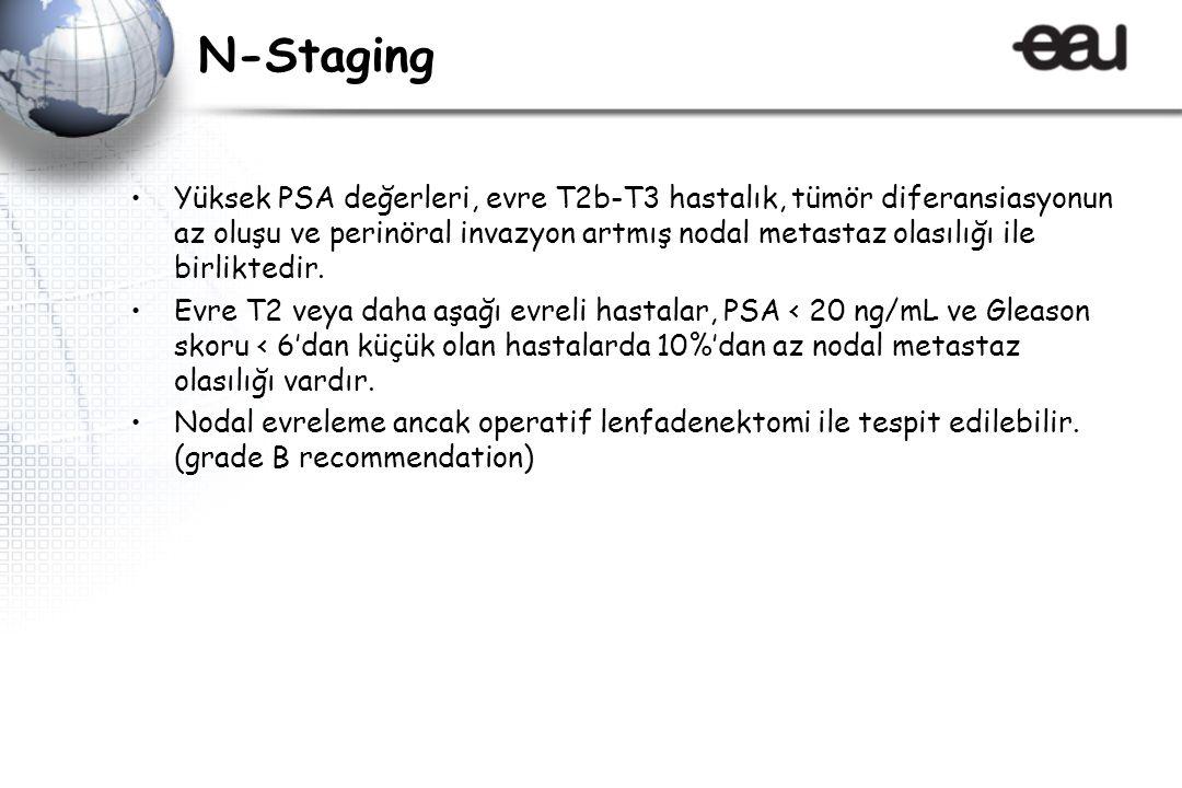 N-Staging Yüksek PSA değerleri, evre T2b-T3 hastalık, tümör diferansiasyonun az oluşu ve perinöral invazyon artmış nodal metastaz olasılığı ile birliktedir.