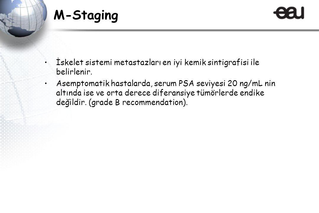 M-Staging İskelet sistemi metastazları en iyi kemik sintigrafisi ile belirlenir.