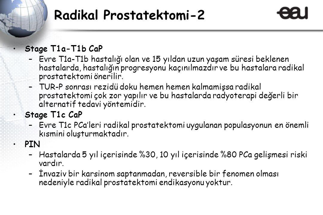 Radikal Prostatektomi-2 Stage T1a-T1b CaP –Evre T1a-T1b hastalığı olan ve 15 yıldan uzun yaşam süresi beklenen hastalarda, hastalığın progresyonu kaçınılmazdır ve bu hastalara radikal prostatektomi önerilir.