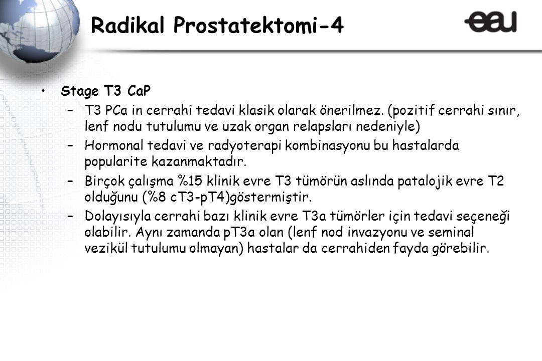 Radikal Prostatektomi-4 Stage T3 CaP –T3 PCa in cerrahi tedavi klasik olarak önerilmez.