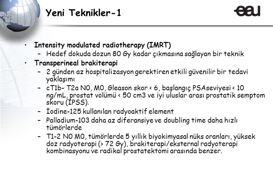 Yeni Teknikler-1 Intensity modulated radiotherapy (IMRT) –Hedef dokuda dozun 80 Gy kadar çıkmasına sağlayan bir teknik Transperineal brakiterapi –2 günden az hospitalizasyon gerektiren etkili güvenilir bir tedavi yaklaşımı –cT1b- T2a N0, M0, Gleason skor < 6, başlangıç PSAseviyesi < 10 ng/mL, prostat volümü < 50 cm3 ve iyi uluslar arası prostatik semptom skoru (IPSS).