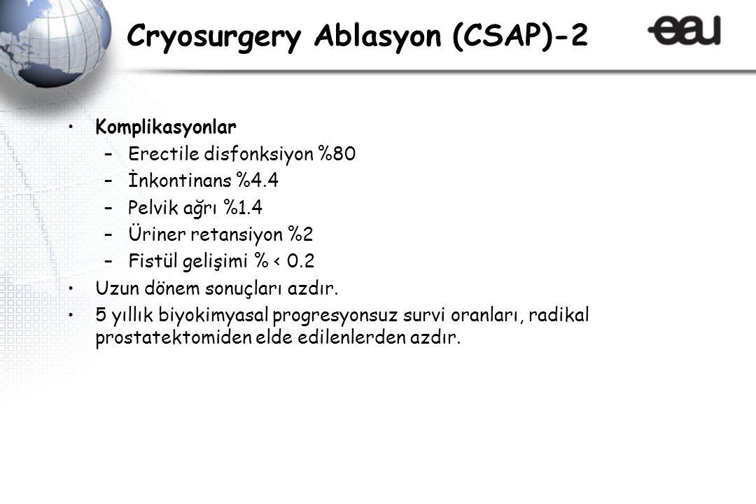 Cryosurgery Ablasyon (CSAP)-2 Komplikasyonlar –Erectile disfonksiyon %80 –İnkontinans %4.4 –Pelvik ağrı %1.4 –Üriner retansiyon %2 –Fistül gelişimi % < 0.2 Uzun dönem sonuçları azdır.