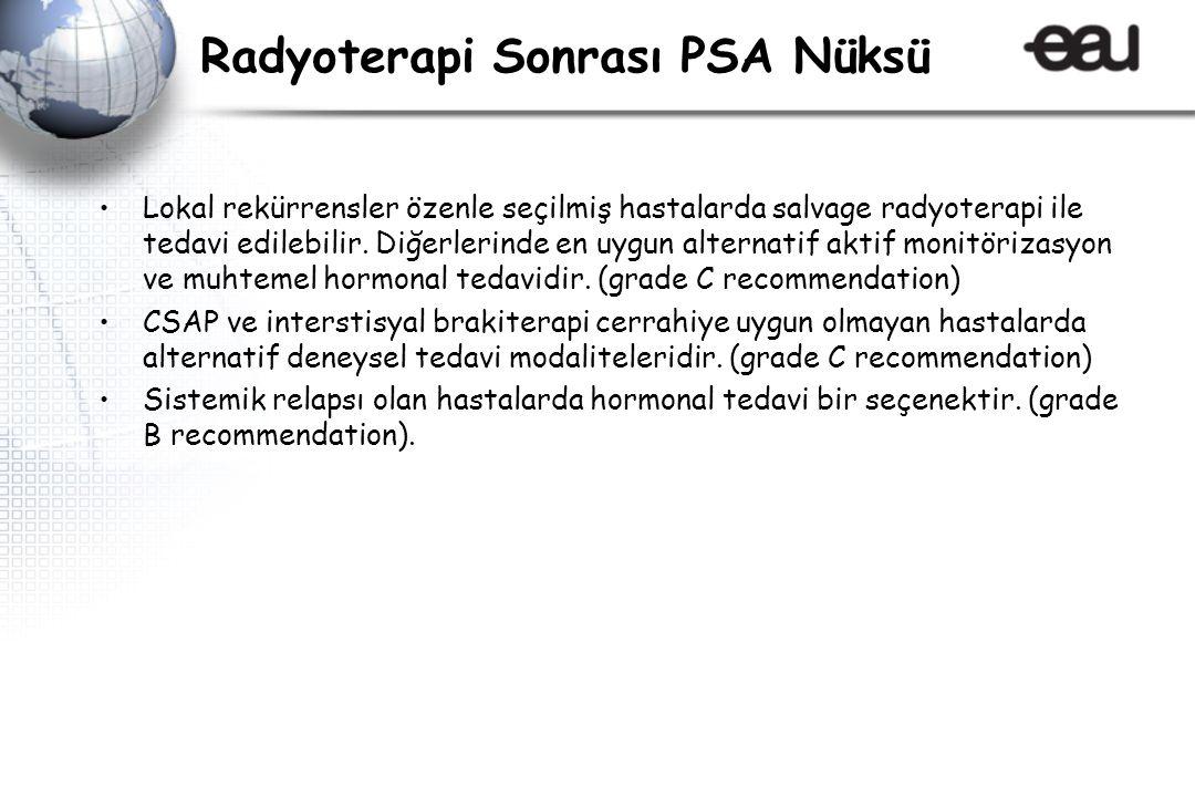 Radyoterapi Sonrası PSA Nüksü Lokal rekürrensler özenle seçilmiş hastalarda salvage radyoterapi ile tedavi edilebilir.