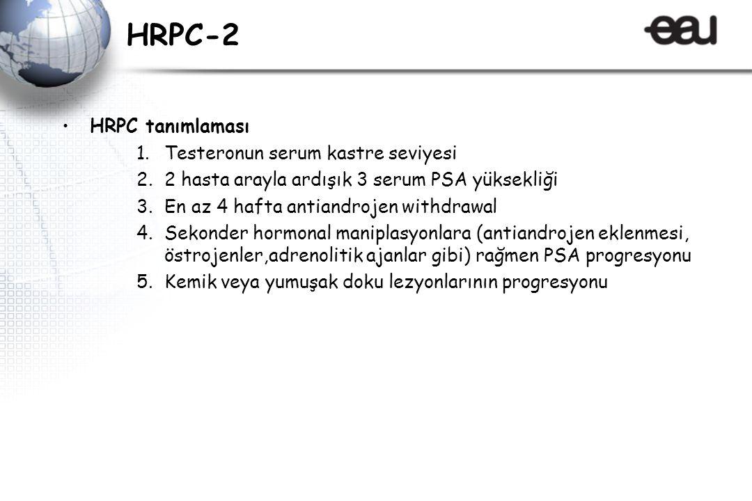 HRPC-2 HRPC tanımlaması 1.Testeronun serum kastre seviyesi 2.2 hasta arayla ardışık 3 serum PSA yüksekliği 3.En az 4 hafta antiandrojen withdrawal 4.Sekonder hormonal maniplasyonlara (antiandrojen eklenmesi, östrojenler,adrenolitik ajanlar gibi) rağmen PSA progresyonu 5.Kemik veya yumuşak doku lezyonlarının progresyonu