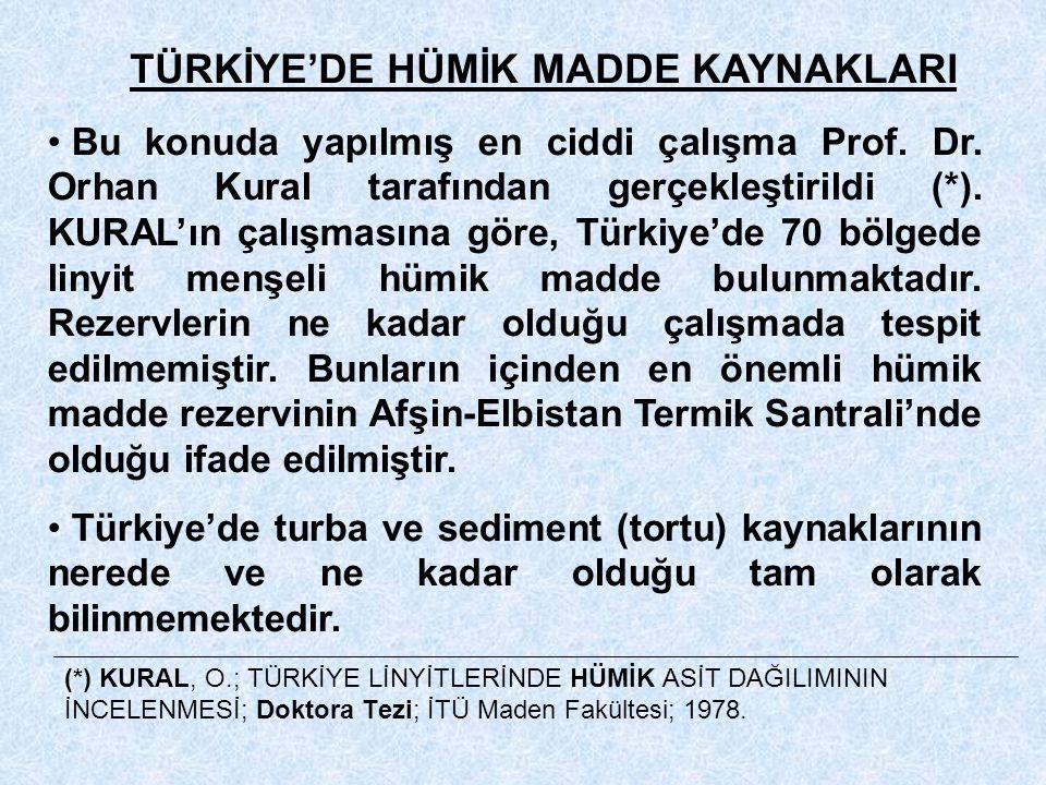 (*) KURAL, O.; TÜRKİYE LİNYİTLERİNDE HÜMİK ASİT DAĞILIMININ İNCELENMESİ; Doktora Tezi; İTÜ Maden Fakültesi; 1978. TÜRKİYE'DE HÜMİK MADDE KAYNAKLARI Bu