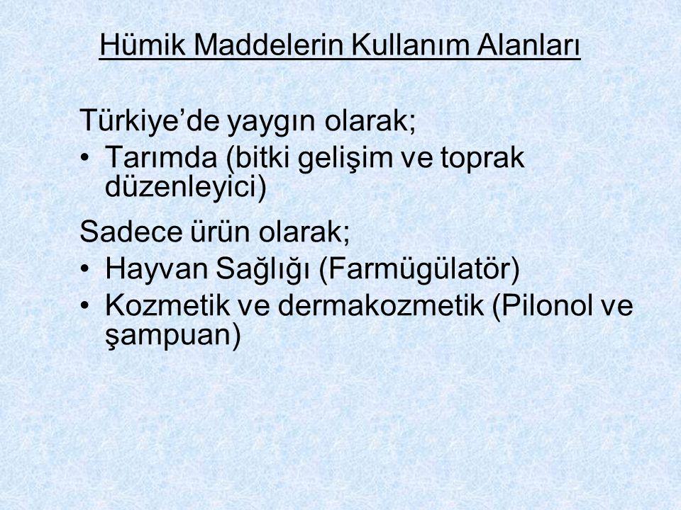 Hümik Maddelerin Kullanım Alanları Türkiye'de yaygın olarak; Tarımda (bitki gelişim ve toprak düzenleyici) Sadece ürün olarak; Hayvan Sağlığı (Farmügülatör) Kozmetik ve dermakozmetik (Pilonol ve şampuan)