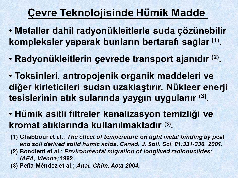 Çevre Teknolojisinde Hümik Madde Metaller dahil radyonükleitlerle suda çözünebilir kompleksler yaparak bunların bertarafı sağlar (1).