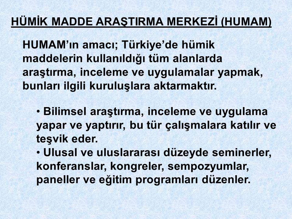 HÜMİK MADDE ARAŞTIRMA MERKEZİ (HUMAM) HUMAM'ın amacı; Türkiye'de hümik maddelerin kullanıldığı tüm alanlarda araştırma, inceleme ve uygulamalar yapmak, bunları ilgili kuruluşlara aktarmaktır.