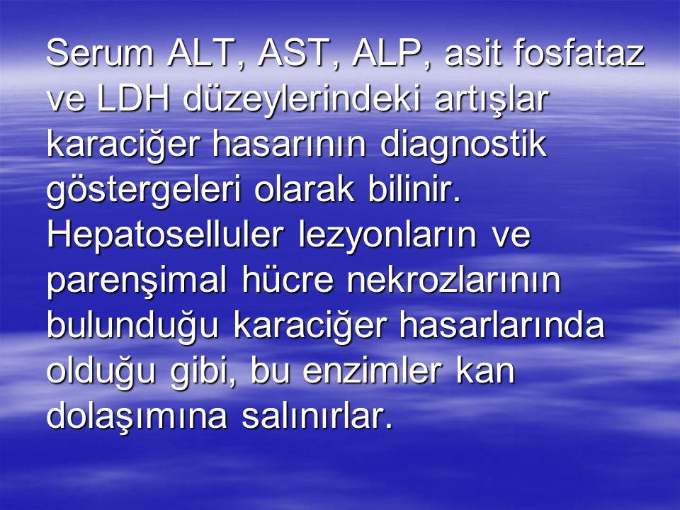 Serum ALT, AST, ALP, asit fosfataz ve LDH düzeylerindeki artışlar karaciğer hasarının diagnostik göstergeleri olarak bilinir.