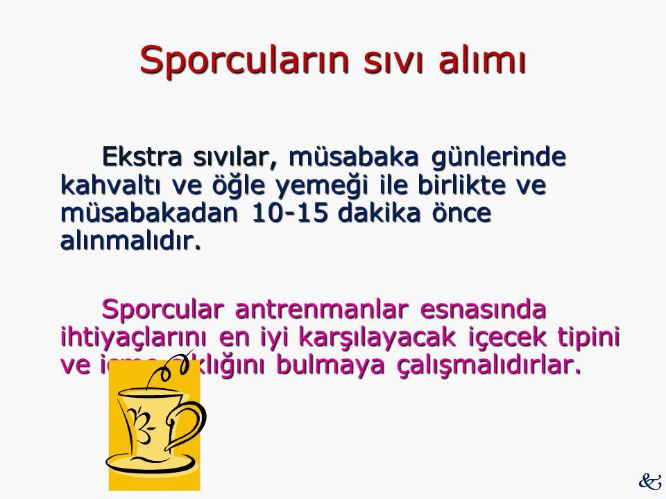 Sporcuların sıvı alımı Ekstra sıvılar, müsabaka günlerinde kahvaltı ve öğle yemeği ile birlikte ve müsabakadan 10-15 dakika önce alınmalıdır. Sporcula