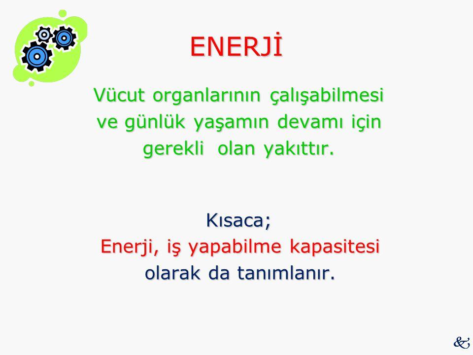 ENERJİ Vücut organlarının çalışabilmesi ve günlük yaşamın devamı için gerekli olan yakıttır. Kısaca; Enerji, iş yapabilme kapasitesi olarak da tanımla