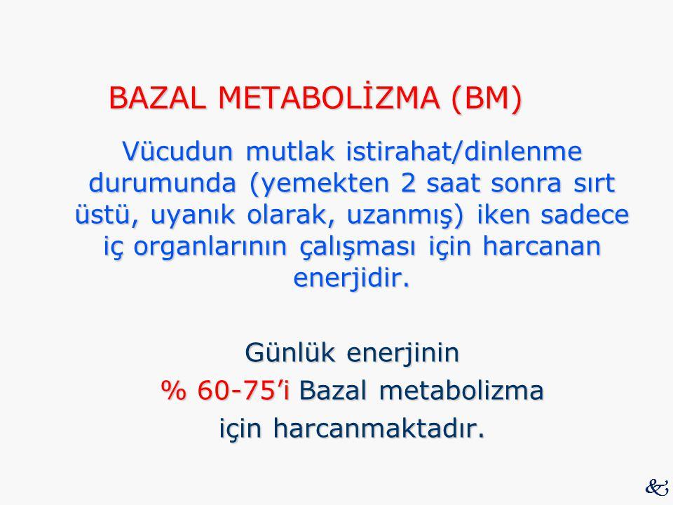 BAZAL METABOLİZMA (BM) Vücudun mutlak istirahat/dinlenme durumunda (yemekten 2 saat sonra sırt üstü, uyanık olarak, uzanmış) iken sadece iç organların