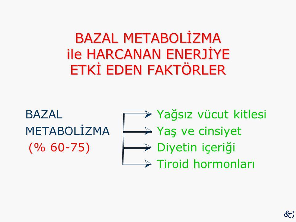 BAZAL METABOLİZMA ile HARCANAN ENERJİYE ETKİ EDEN FAKTÖRLER BAZAL  Yağsız vücut kitlesi METABOLİZMA  Yaş ve cinsiyet (% 60-75)  Diyetin içeriği  T