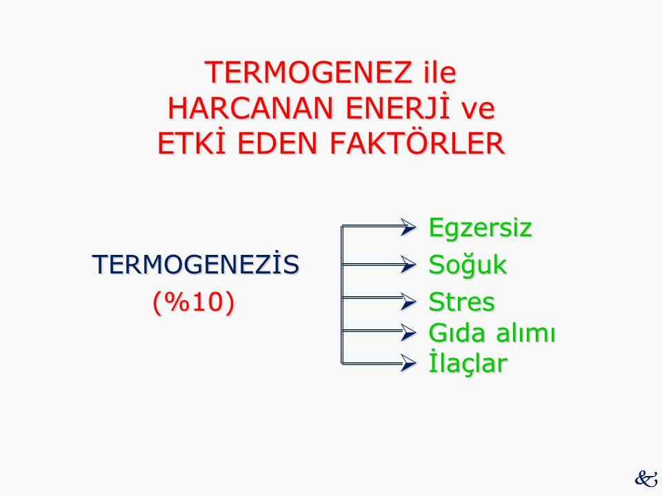TERMOGENEZ ile HARCANAN ENERJİ ve ETKİ EDEN FAKTÖRLER  Egzersiz  Egzersiz TERMOGENEZİS  Soğuk (%10)  Stres  Gıda alımı  İlaçlar (%10)  Stres 