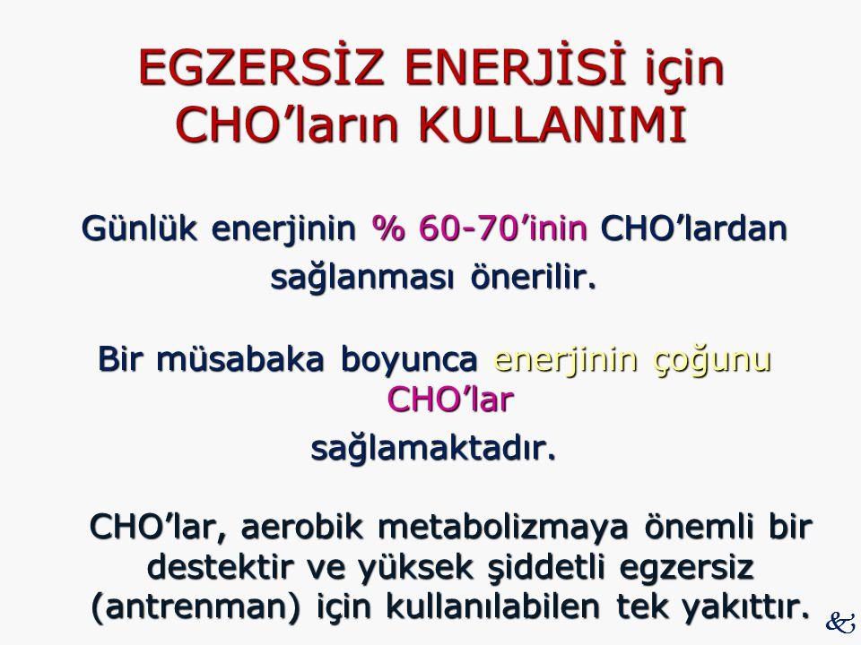 EGZERSİZ ENERJİSİ için CHO'ların KULLANIMI Günlük enerjinin % 60-70'inin CHO'lardan sağlanması önerilir. Bir müsabaka boyunca enerjinin çoğunu CHO'lar