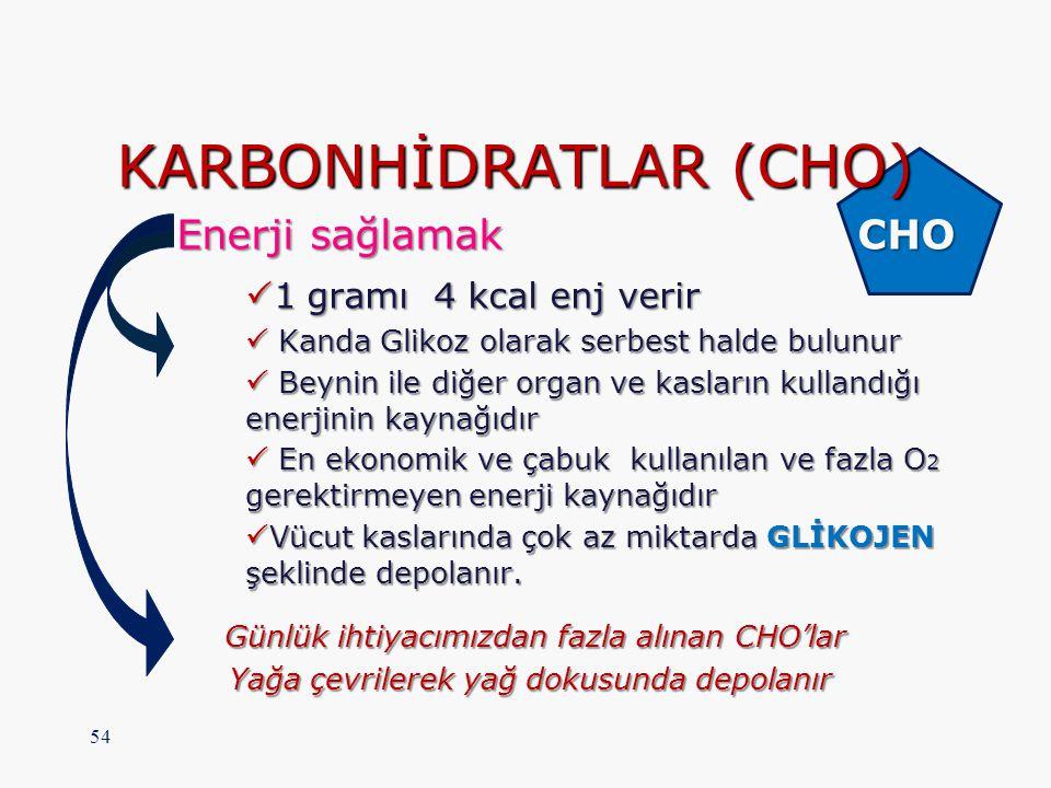 KARBONHİDRATLAR (CHO) Enerji sağlamak CHO Enerji sağlamak CHO  1 gramı 4 kcal enj verir  Kanda Glikoz olarak serbest halde bulunur  Beynin ile diğe