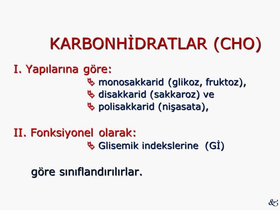 KARBONHİDRATLAR (CHO) I. Yapılarına göre:  monosakkarid (glikoz, fruktoz),  disakkarid (sakkaroz) ve  polisakkarid (nişasata), II. Fonksiyonel olar