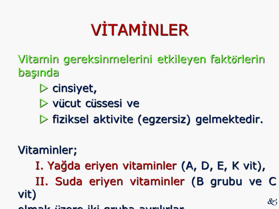 VİTAMİNLER Vitamin gereksinmelerini etkileyen fakt ö rlerin başında  cinsiyet,  cinsiyet,  v ü cut c ü ssesi ve  v ü cut c ü ssesi ve  fiziksel a