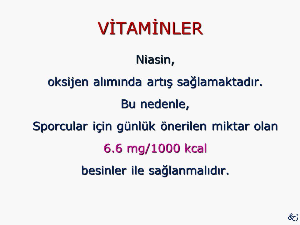 VİTAMİNLER Niasin, oksijen alımında artış sağlamaktadır. Bu nedenle, Sporcular için günlük önerilen miktar olan 6.6 mg/1000 kcal besinler ile sağlanma