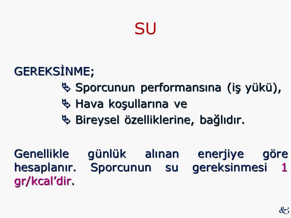 SU GEREKSİNME;  Sporcunun performansına (iş yükü),  Sporcunun performansına (iş yükü),  Hava koşullarına ve  Bireysel özelliklerine, bağlıdır.  B