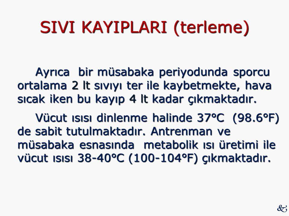 SIVI KAYIPLARI (terleme) Ayrıca bir müsabaka periyodunda sporcu ortalama 2 lt sıvıyı ter ile kaybetmekte, hava sıcak iken bu kayıp 4 lt kadar çıkmakta
