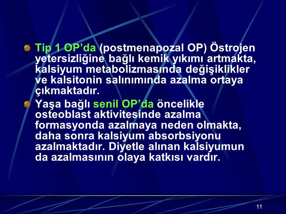 11 Tip 1 OP'da (postmenapozal OP) Östrojen yetersizliğine bağlı kemik yıkımı artmakta, kalsiyum metabolizmasında değişiklikler ve kalsitonin salınımında azalma ortaya çıkmaktadır.