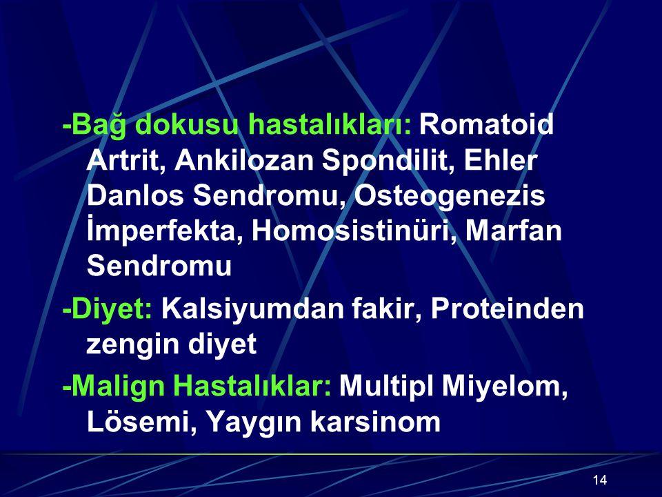 14 -Bağ dokusu hastalıkları: Romatoid Artrit, Ankilozan Spondilit, Ehler Danlos Sendromu, Osteogenezis İmperfekta, Homosistinüri, Marfan Sendromu -Diyet: Kalsiyumdan fakir, Proteinden zengin diyet -Malign Hastalıklar: Multipl Miyelom, Lösemi, Yaygın karsinom