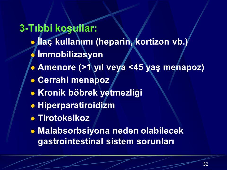 32 3-Tıbbi koşullar: İlaç kullanımı (heparin, kortizon vb.) İmmobilizasyon Amenore (>1 yıl veya <45 yaş menapoz) Cerrahi menapoz Kronik böbrek yetmezliği Hiperparatiroidizm Tirotoksikoz Malabsorbsiyona neden olabilecek gastrointestinal sistem sorunları