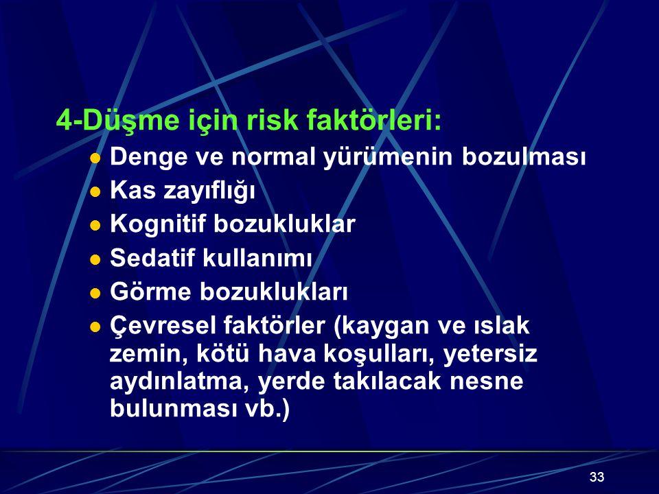33 4-Düşme için risk faktörleri: Denge ve normal yürümenin bozulması Kas zayıflığı Kognitif bozukluklar Sedatif kullanımı Görme bozuklukları Çevresel faktörler (kaygan ve ıslak zemin, kötü hava koşulları, yetersiz aydınlatma, yerde takılacak nesne bulunması vb.)