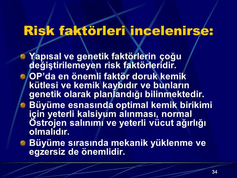 34 Risk faktörleri incelenirse: Yapısal ve genetik faktörlerin çoğu değiştirilemeyen risk faktörleridir. OP'da en önemli faktör doruk kemik kütlesi ve