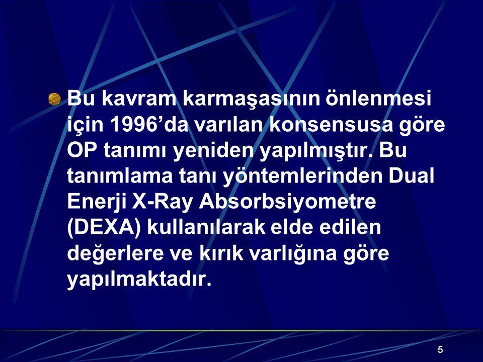 5 Bu kavram karmaşasının önlenmesi için 1996'da varılan konsensusa göre OP tanımı yeniden yapılmıştır. Bu tanımlama tanı yöntemlerinden Dual Enerji X-