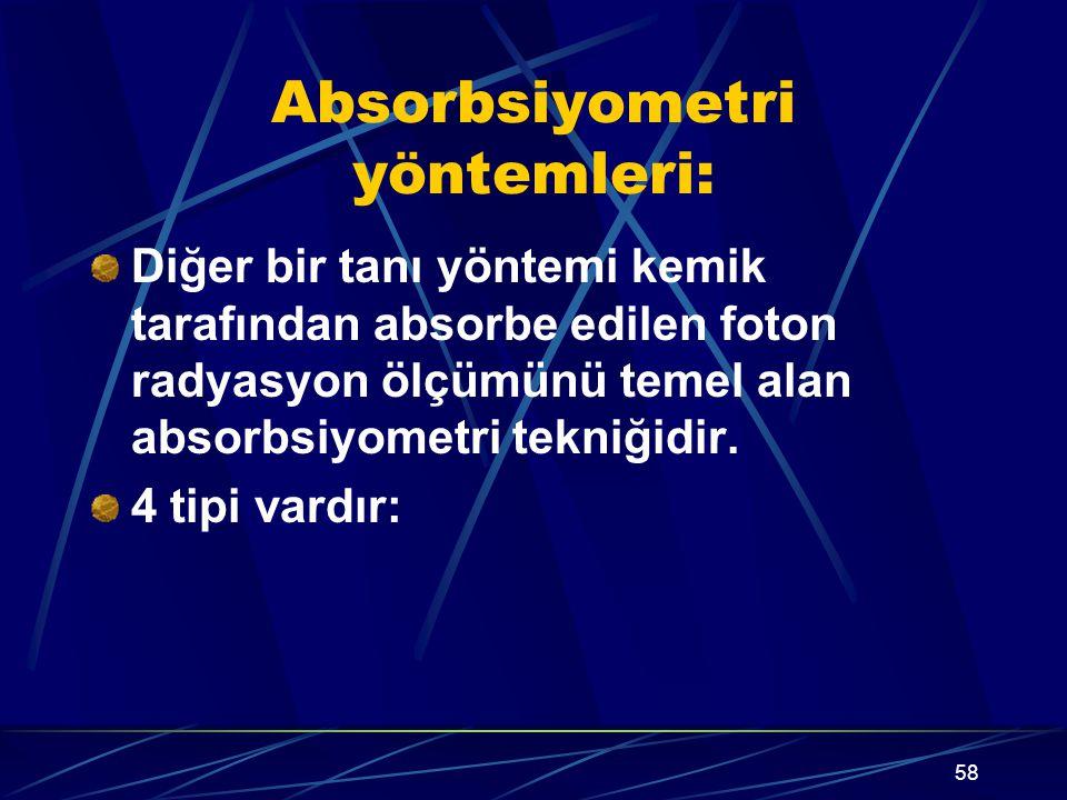 58 Absorbsiyometri yöntemleri: Diğer bir tanı yöntemi kemik tarafından absorbe edilen foton radyasyon ölçümünü temel alan absorbsiyometri tekniğidir.