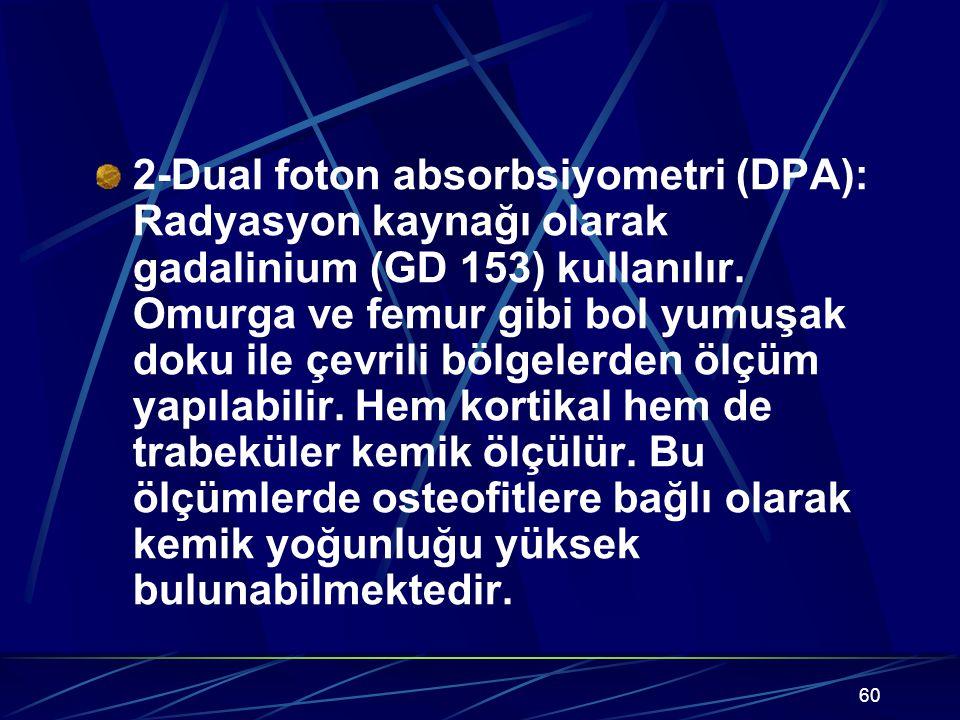 60 2-Dual foton absorbsiyometri (DPA): Radyasyon kaynağı olarak gadalinium (GD 153) kullanılır. Omurga ve femur gibi bol yumuşak doku ile çevrili bölg