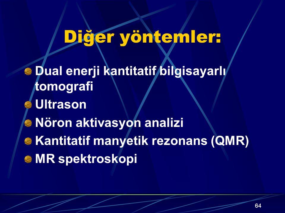 64 Diğer yöntemler: Dual enerji kantitatif bilgisayarlı tomografi Ultrason Nöron aktivasyon analizi Kantitatif manyetik rezonans (QMR) MR spektroskopi