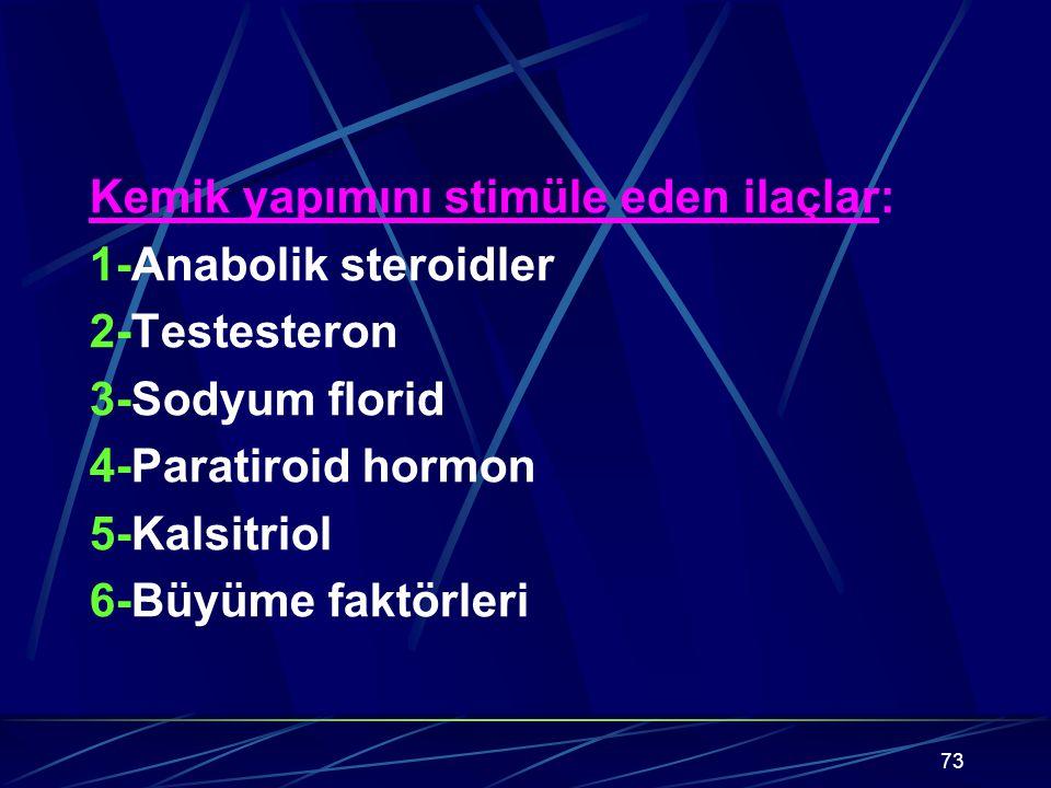 73 Kemik yapımını stimüle eden ilaçlar: 1-Anabolik steroidler 2-Testesteron 3-Sodyum florid 4-Paratiroid hormon 5-Kalsitriol 6-Büyüme faktörleri