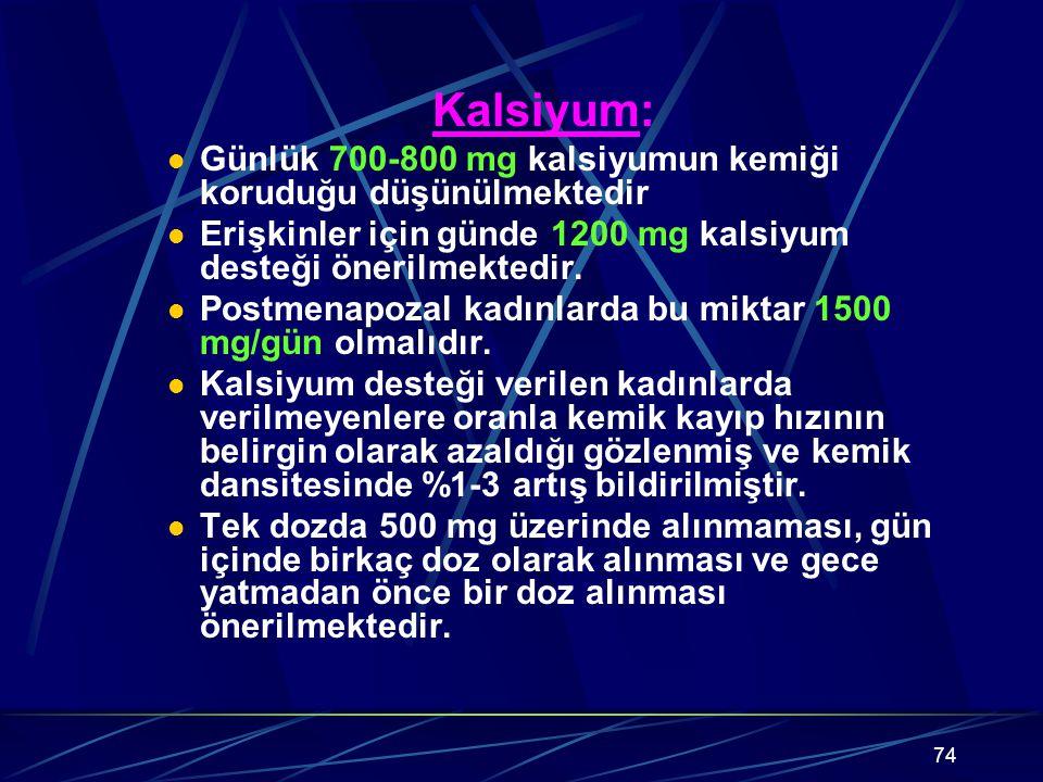 74 Kalsiyum: Günlük 700-800 mg kalsiyumun kemiği koruduğu düşünülmektedir Erişkinler için günde 1200 mg kalsiyum desteği önerilmektedir. Postmenapozal