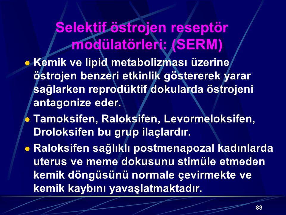 83 Selektif östrojen reseptör modülatörleri: (SERM) Kemik ve lipid metabolizması üzerine östrojen benzeri etkinlik göstererek yarar sağlarken reprodüktif dokularda östrojeni antagonize eder.