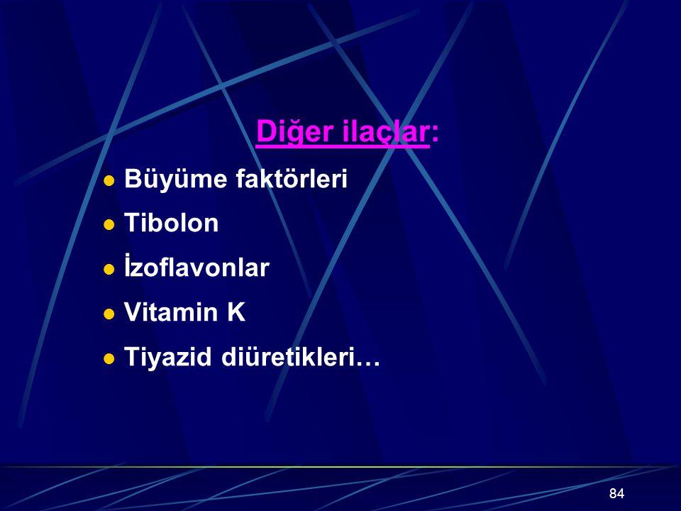 84 Diğer ilaçlar: Büyüme faktörleri Tibolon İzoflavonlar Vitamin K Tiyazid diüretikleri…